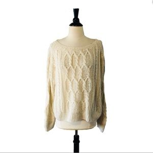 Ryan Roche Ivory Cable Knit Cashmere Pullover
